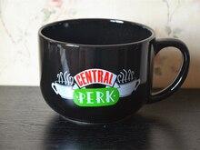 Serie de Televisión Central Perk, Taza de cerámica negra de 600ML, taza para té y café