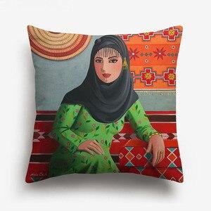 Image 4 - 중동 이슬람 유화 여성 레이디 쿠션 커버 아라비아 민속 문화 예술 베개 커버 침실 리넨 베개 케이스