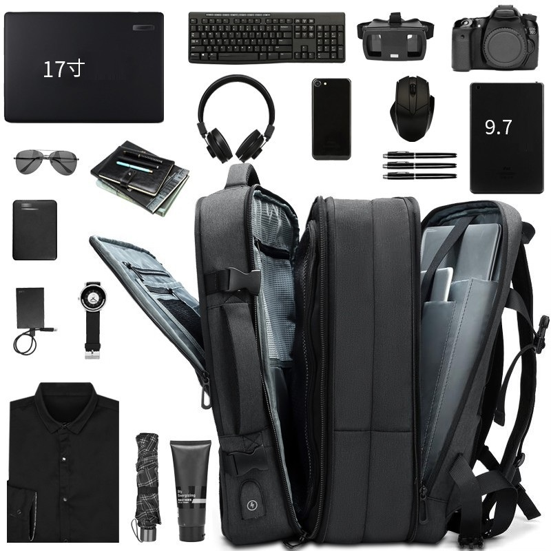 Backpack For Men 17.3 17 15.6 Inch Business Bag For Laptop Scalable Large Capacity Climbing Waterproof Travel  Backpack USB