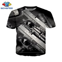 Anime 3D Print Funny T Shirt Men Gun Streetwear Women Top Bullet Fashion T-shirt Kids Harajuku Tee Funny Shirts Homme Tshirt A30