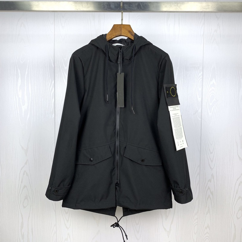 2020 Best Version 1:1 Compass Logo Patched Women Men Long Style Jacket Windbreaker Streetwear Men Casual Jacket Coat Outwear