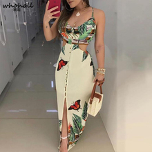 WHOHOLL Spaghetti Strap Tropical Print Cutout Dress Women Dress недорого