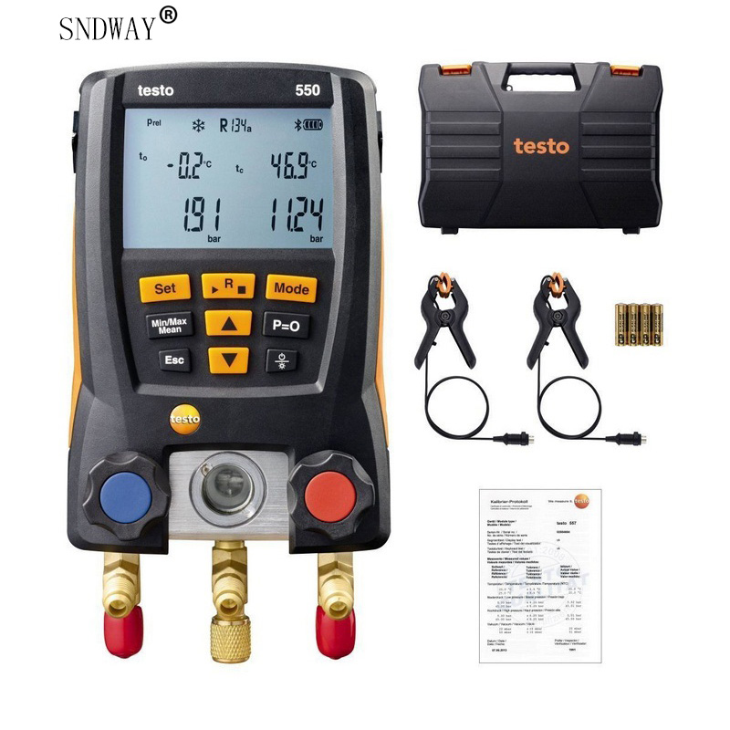 Testo 550 Refrigeration Gauge Manifold Digital With Hoses Clamp Refrigerant Meter Set Probes 0563 1550 Manometro