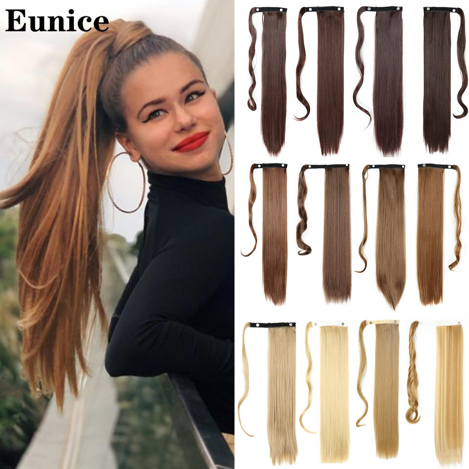 Headwear Hairpiece Ponytail-Wrap Synthetic-Hair Clip-In Brown Straight Natural Long 613