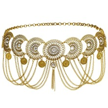 gold and silver metal chain band punk body chain skirt belt adjustable girdle of the girl's body band carnival dance head