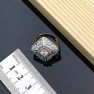 Image 3 - Farba gumowa srebro 925 biżuteria biała cyrkonia sześcienna zestawy biżuterii dla kobiet Party kolczyki/wisiorek/pierścionki/bransoletka/naszyjnik zestaw