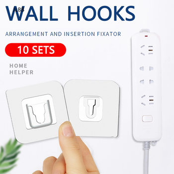 10 sets Double-sided Adhesive Wall Hooks Hanger Strong Transparent hooks for home Kitchen and Bathroom Suction cup Wall Holder image