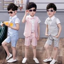 Wedding-Overall Suits with Bowtie School-Uniform Baby-Boy-Suits-Sets Formal Jongenskleding