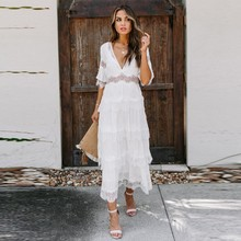 Deep V Short Sleeves Summer Homecoming Dress Lace Simple Holiday Party Gown Sexy Illusion Waist Bohemian Dress YSAN1080