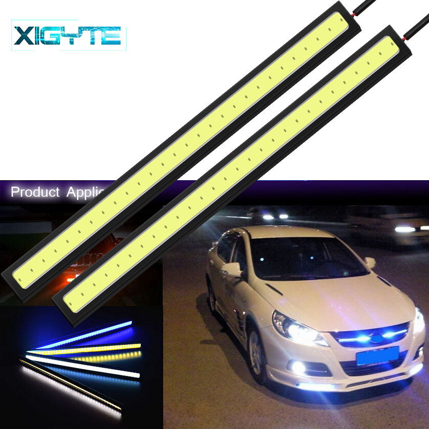 1pcs Fashion Universal Daytime Running Lights 17cm COB DRL LED Car External Lights Waterproof Fog Lamp Car Shape LED DRL Lights
