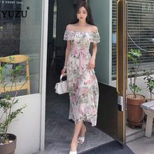 Sexy Women Floral Print Chiffon Long Dress Office Party Off Shoulder Ruffles Bel
