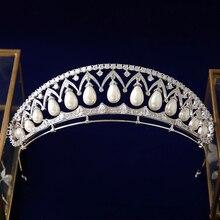 Bavoen Top quality Luxury European Pearls Brides Tiara Headpieces Zircon Crystal Crown Evening Hair Accessories