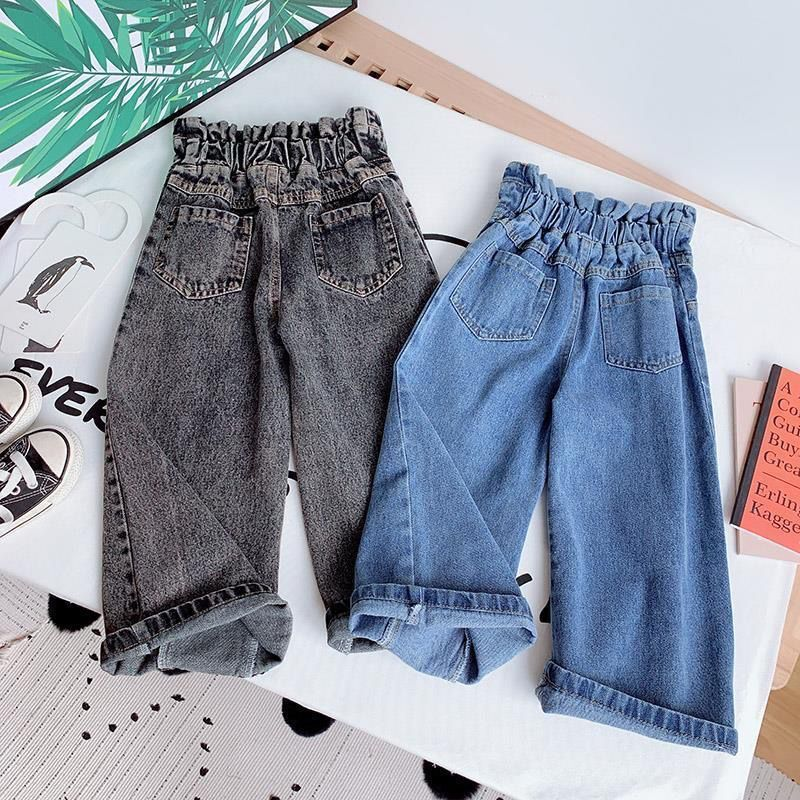 Girls Wide-legged Jeans Spring And Autumn Children Loose Straight Soft Denim Pants Chubby Kid High Waist Jeans 2