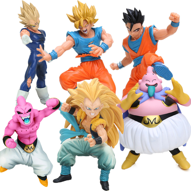 15-18cm Dragon Ball Kai DXF Fighting Combination Vol3 Gotenks Vegeta Son Gohan Goku Majin Buu Action Figure Collection Model Toy