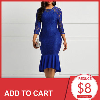 цена на Blue Scoop Neck Lace Elegant Cocktail Dress 3/4 Sleeves Zipper Up Mermaid Tea Length Party Formal Women Cocktail Dresses