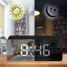 LED cyfrowy lustro budzik cyfrowy obudź światło elektroniczny duży wyświetlacz temperatury z datą noc światła zegar ścienny