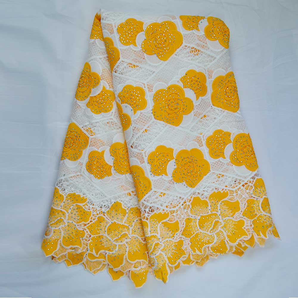 2 Yards Nigerian Swiss Voile Fabric French Tulle Lace for Wedding Dress Women Yellow High Quality African Bazin Lace Fabric Beaded 5 Yards