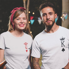 Casual Men Women Lover Graphic Funny Tee Top Summer Poker Print Honeymoon Tshirt King Queen Pocket Couples Matching T-shirts(China)