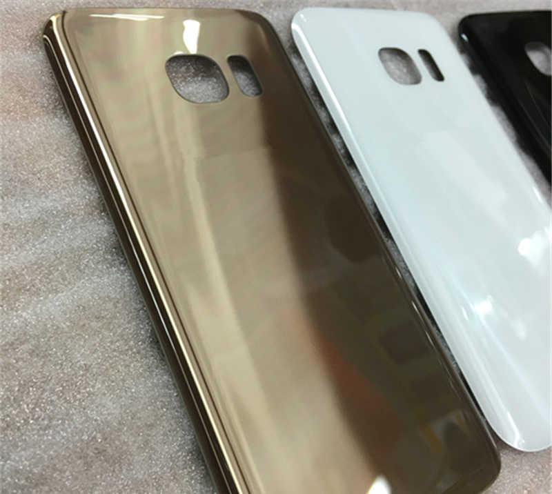 Voor Samsung Galaxy S7 G930F / S7 Rand G935F Back Glas Batterij Cover Met Logo Goud Achter Deur Behuizing Case back Glass Cover