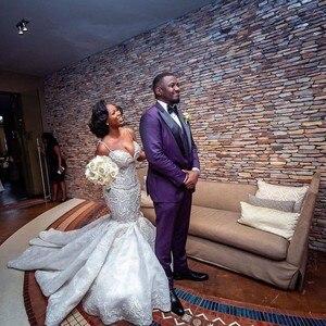 Image 5 - Luksusowe afryki suknie ślubne syrenka Plus rozmiar 2019 Robe de mariee czarny dziewczyna kobiety koronkowe suknie ślubne ręcznie robione suknia dla panny młodej