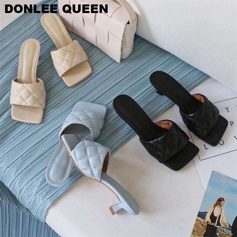 2020 Square Toe Slippers Women Peep Toe Med Heel 4cm Slides Summer Shoe Women Embroidery Mule Massage Outsole Slipper Size 35-41