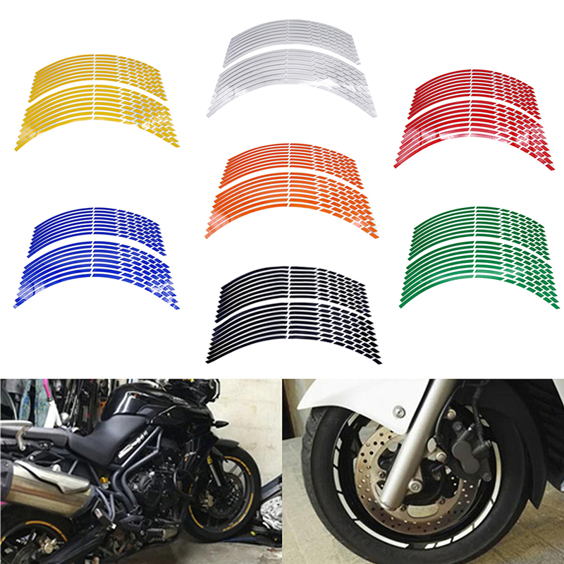 171819/16pcs Strips Motorcycle Car Wheel Tire Stickers Reflective Rim Tape Motorbike Auto Decals For Yamaha Suzuki Honda image
