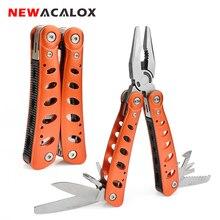 كماشة من NEWACALOX قابلة للطي متعددة المهام للاستخدام في الأماكن الخارجية أداة قطع الأسلاك أداة قطع الأسلاك أداة قطع الأسلاك أداة ثني للثني للتخييم مع مفك براغي سكين