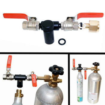 Dual Valve For SodaStream CO2 Tank Refill Station Filling Charging Adapter CGA-320 Dual Heavy Duty 1/4 Turn Valves