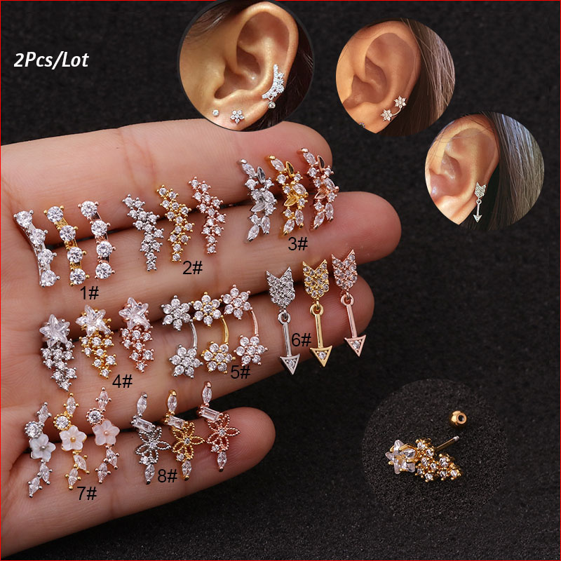 2Pcs/Lot Rose Gold Color Curved Cz Cartilage Stud Helix Rook Conch Screw Back Earring 20g Stainless Steel Ear Piercing Jewelry