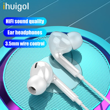 ihuigol 3.5mm Jack Earphone HIFI In-ear Wired Control Headsets Sport Earbuds with Mic For iPhone 5 6 SE iPad iPod Samsung Huawei accezz 3 5mm jack in ear earphone for iphone 5 6 ipad xiaomi samsung universal hifi sport earbuds wired control with microphone