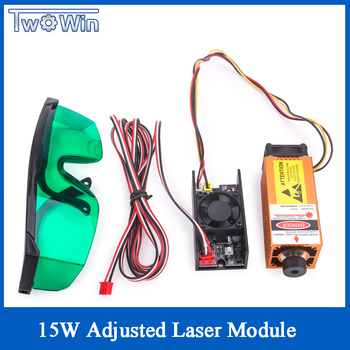 15W Adjusted Focus Blue-Violet Laser Module Engraving Coated Stainless Steel Cutting 3mm Wood 15000mw Carving Engraver Accessory