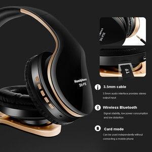 Image 3 - Casque sans fil casque Bluetooth sur loreille stéréo basse écouteur pliable réglable écouteurs de jeu avec micro pour téléphone PC