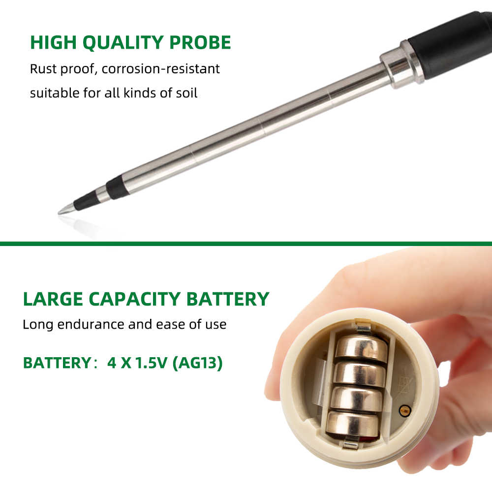 Portable with Stainless Steel Probe for Garden Agriculture Easy to Read Soil Tester EC CF TDS Meter Soil Meter