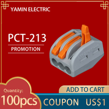 цена PCT-213 (100pcs) Terminal Block 3 Pins Wire Connector Universal PCT213 Compact Wiring Conductor With Lever AWG 28-12 онлайн в 2017 году