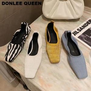 2020 Fashion Square Toe Vintag Flat Shoes Women Slip On Ballerina Shallow Ballet Flat Zebra Pattern Brand Shoes zapatillas mujer