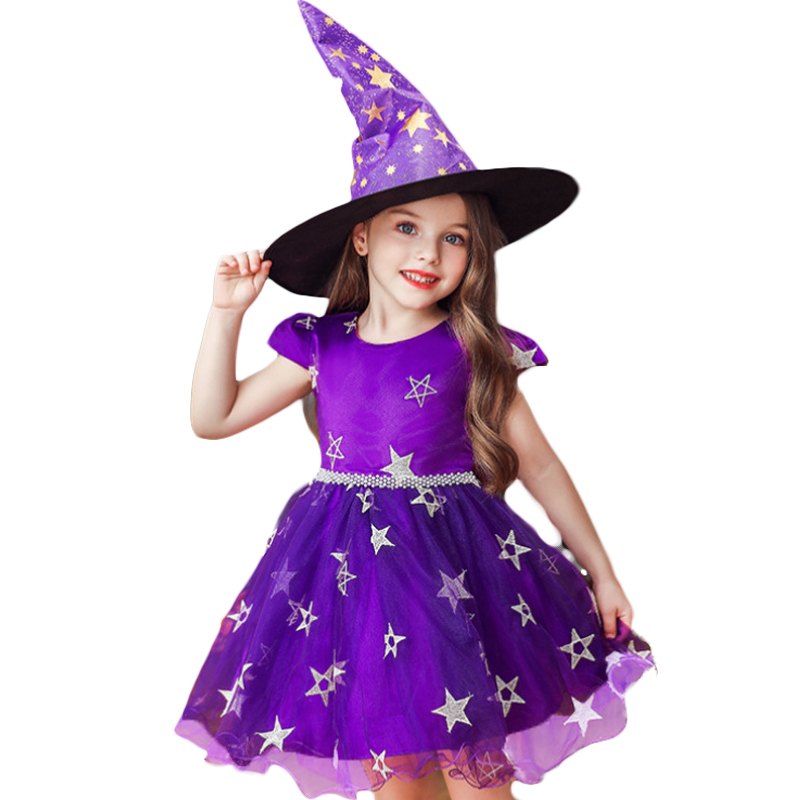 Girls Witch Halloween Christmas Toddler Kids Tutu Dresses Baby Children Clothing Princess Dress Party Costume Clothes 1 2 4 6 8Y 4