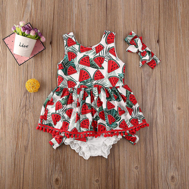Pudcoco Toddler Baby Girl Clothes Watermelon Print Sleeveless Tassel Tops Short Pants Headband 3Pcs Outfits Cotton Clothes 1