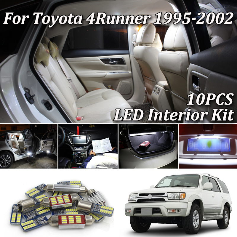 10Pcs Premium White LED Lights Interior Package Kit For <font><b>Toyota</b></font> <font><b>4Runner</b></font> N18 1995-2020 led Interior lights image