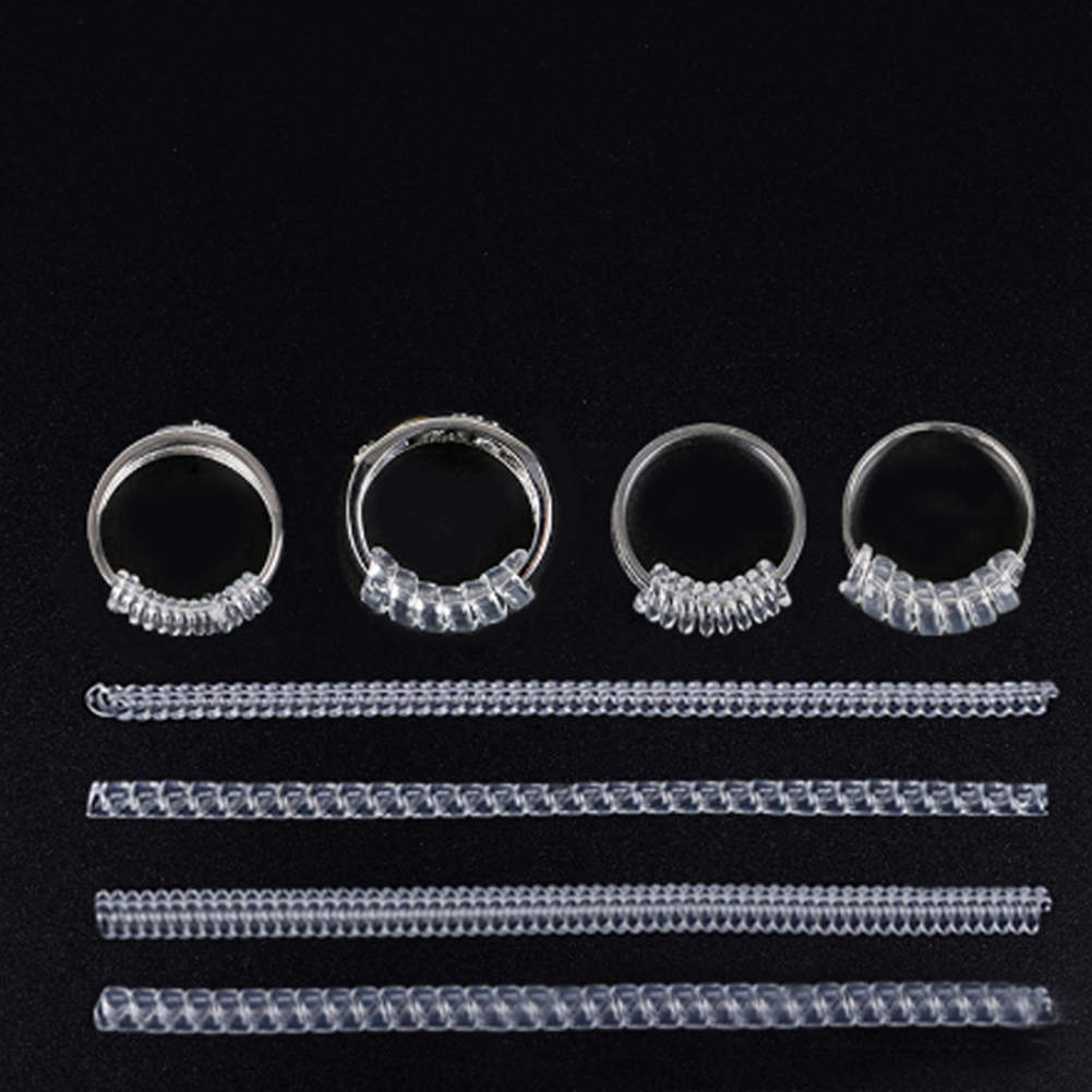 12pcs DIY Transparent Jewelry Practical Invisible Spring Spiral Design Ring Size Adjuster Durable Guard Tightener Reducer