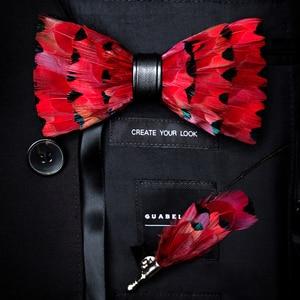 Image 5 - RBOCOTT Handgemaakte Veer Vlinderdas en Broche Set Voor Mannen Accessoires mannen Luxe Bowtie Breastpin Set met Doos Voor huwelijkscadeau