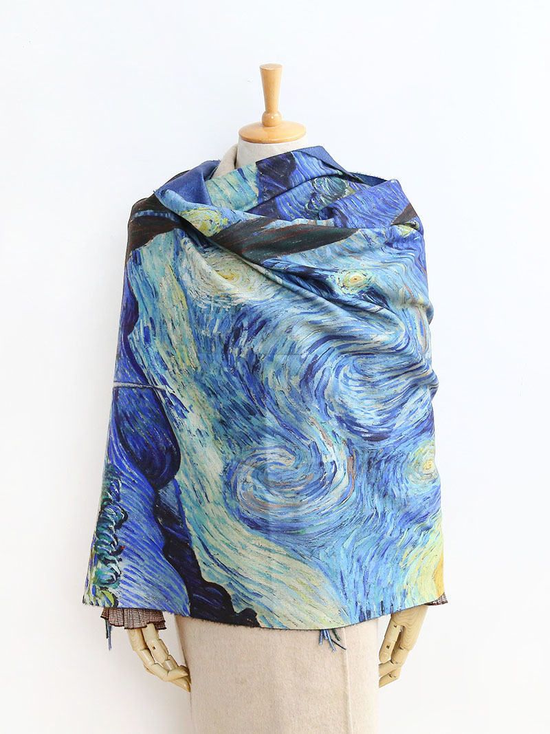 2020 Luxury brand  women winter cashmere scarf shawl Digital painted shawl Van Gogh oil painting pashmina ladies Blanket scarf