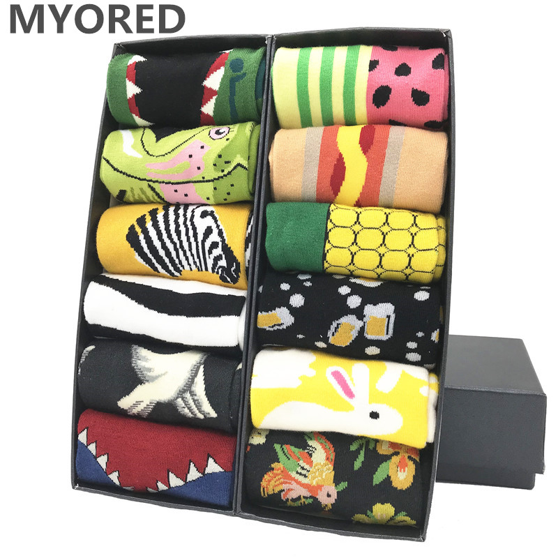 MYORED Socks Gift Leaf-Pattern Funny Novelty Colorful Cotton Cute Bright for Women Dot