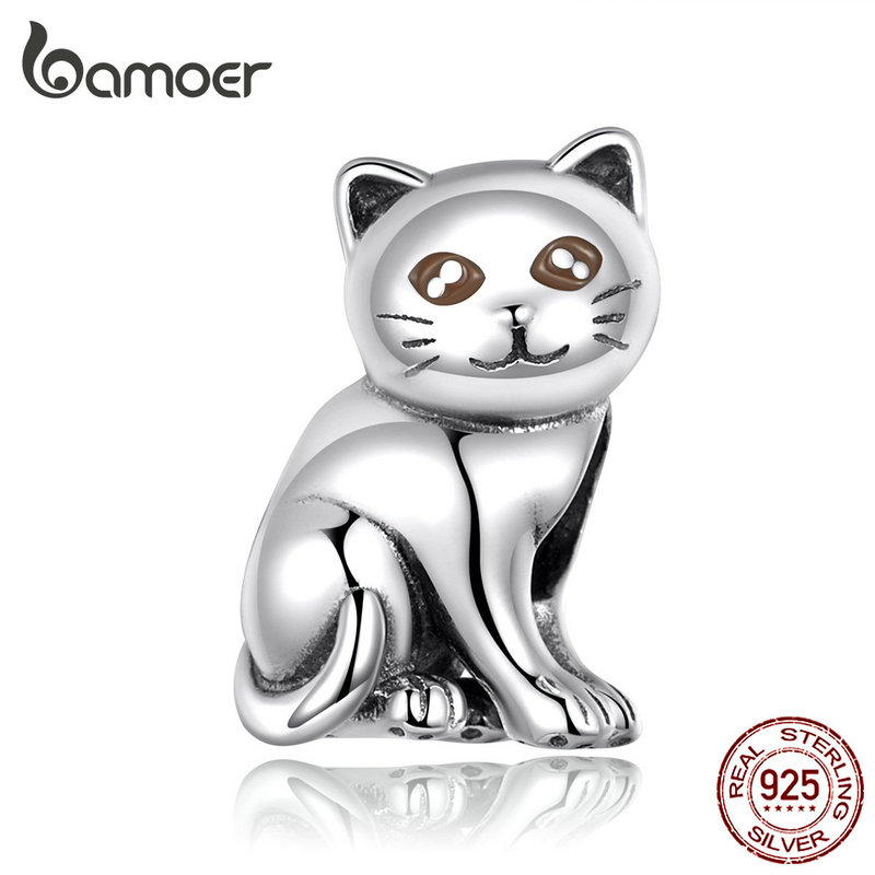 bamoer Cute Baby Cat Metal Beads Charm for Women European Luxury Bracelet 925 Sterling Silver Fashion Jewelry SCC1305(China)
