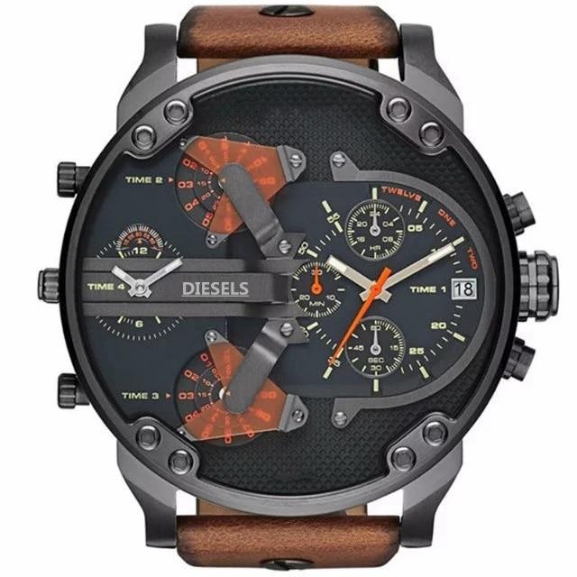 2019 reloj Montre luxe Military Clock Leather Strap 53MM Big dial DZ Stainless steel Watch Men's Sport Quartz Diesels Watch 11