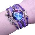 Двенадцать созвездий Уникальный фиолетовый Многослойные Античная Ретро кожаные браслеты из нержавеющей стали, ювелирные изделия, с драгоц...