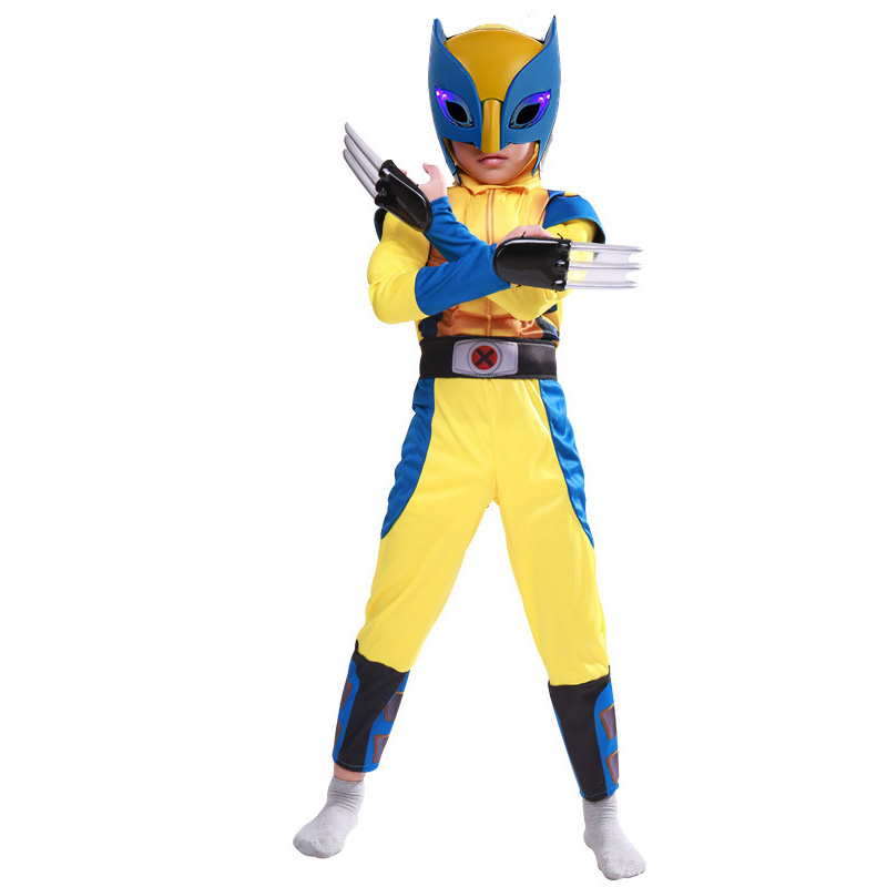 Movie Avengers Wolverine Costume Suit Kids Halloween X-Men Superhero Superman Party  Cosplay Fancy Dress Children Birthday Gift