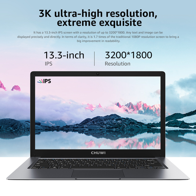 CHUWI HeroBook Pro+ 13.3 Inch IPS Screen Intel Celeron Quad Core Windows 10 OS 8GB RAM 128GB ROM Slim Laptop 2.4/5G Wifi BT5.0 4