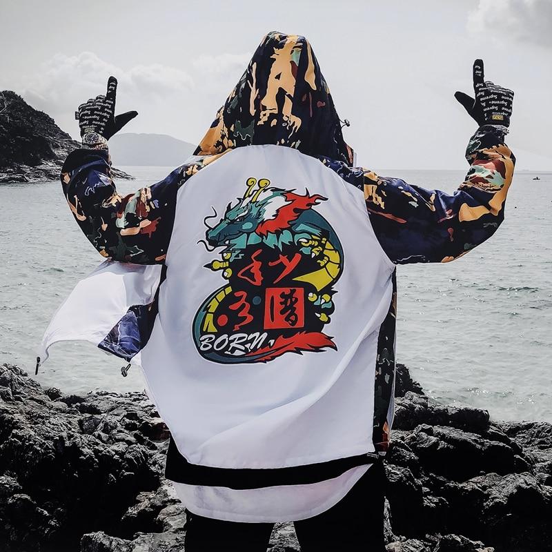Dragon Bomber Jacket Men Outwear Streetwear Hip Hop Baseball Jacket Hooded Thin Windbreaker Jackets Fashion Patchwork Clothes