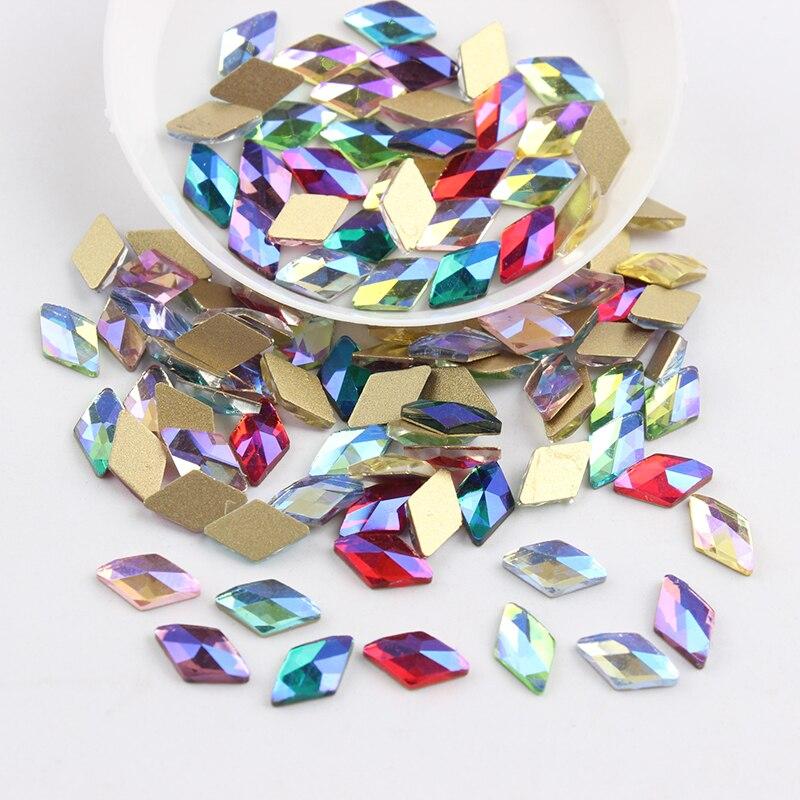 Все смешанные цвета, 30 шт, стразы для дизайна ногтей, сделай сам, без горячей фиксации, стеклянные камни для ногтей, драгоценные камни для 3D украшения для ногтей - Цвет: 6x10mm Rhombus AB