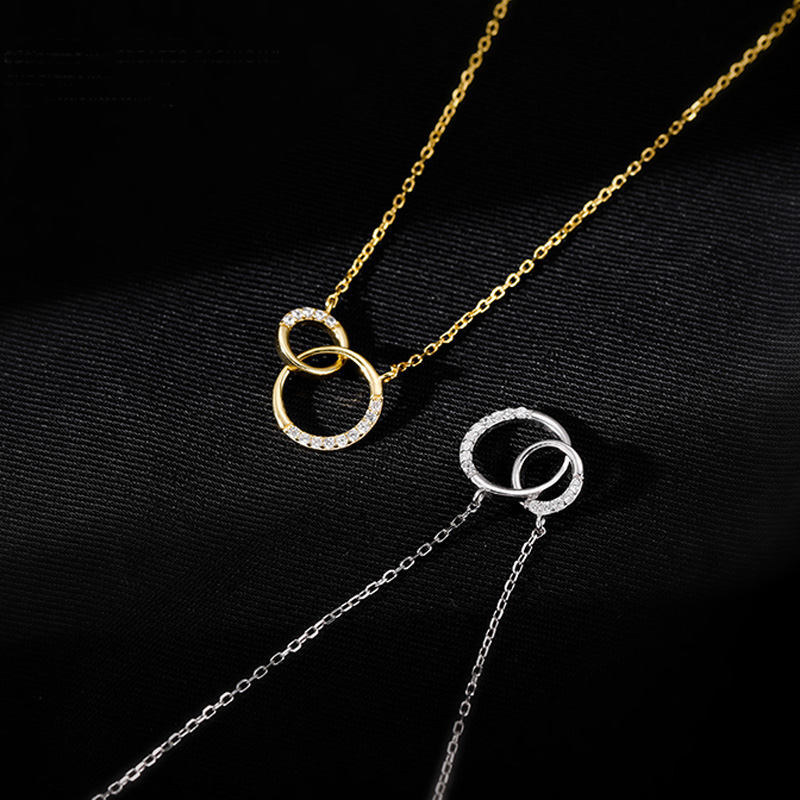 Trendy 925 Sterling Silver Round Double Circle CZ Zirconia Necklaces & Pendants For Women Party Gift Choker NK063 3